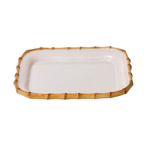 """Juliska Classic Bamboo Natural 12'' Rectangular Platter KM21/34 12""""L, 9.5""""W From Juliska's Classic Bamboo Collection - From lobster mac and cheese to bright vegetables braised to perfection, our white platter rimmed in natural bamboo adds exotic flair to your table. Pairs remarkably well with our Firenze and Quotidien collections."""