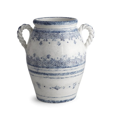 """Arte Italica Burano 2-handled Urn BUR6886  The Burano dinnerware collection is named for an island off the coast of Venice that prides itself as the center of embroidered lace. Our 2-handled urn makes a beautiful centerpiece for your table or as a home decor piece. Hand made in Italy.  Wipe clean with a damp cloth, hand wash  8"""" D X 13.5"""" H"""