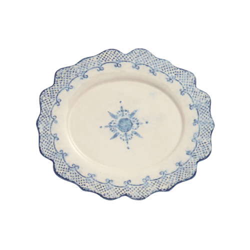 "Arte Italica Burano Oval Scalloped Plate BUR6814  The Burano dinnerware collection is named for an island off the coast of Venice that prides itself as the center of embroidered lace. The oval scalloped plate makes for a stunning serving piece for your table. Hand made in Italy.  Dishwasher safe on the low-heat setting. Microwavable (may get hot).  11.25"" L X 10.25"" W"