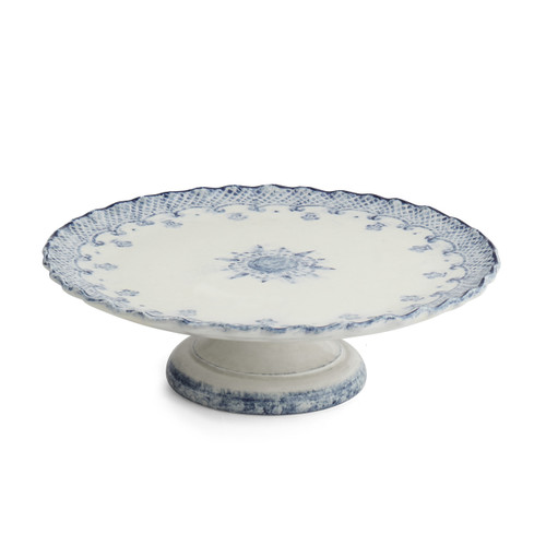 """Arte Italica Burano Cake Stand BUR6827  The Burano dinnerware collection is named for an island off the coast of Venice that prides itself as the center of embroidered lace. This Cake Stand makes for a stunning serving piece for your cakes and pastries. Hand made in Italy.  Dishwasher safe on the low-heat setting. Microwavable (may get hot).  12"""" D X 3.75"""" H"""