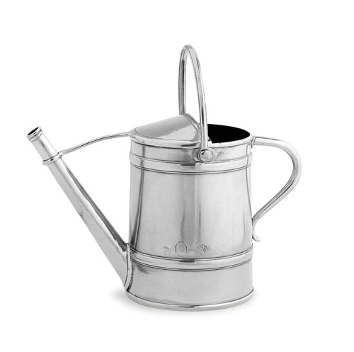 "Arte Italica Peltro Watering Can PEL6762  Peltro, meaning pewter in Italian, exemplifies the beauty of handcrafted pewter. Each piece is made with extreme care and detail and you will find hallmarks, stamps and 95 proving it is 95% tin, the highest grade pewter made! This pewter watering can is beautiful and functional but also a stunning piece for home decor or hand picked wild flowers. Italian pewter, Hand made in Italy. Wipe clean with a damp cloth.  12"" L x 6"" W x 7.5"" H"