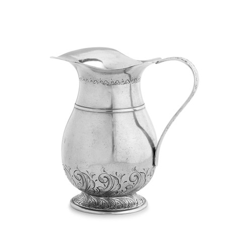 "Arte Italica Peltro Tall Fluted Pitcher PEL6764  Peltro, meaning pewter in Italian, exemplifies the beauty of handcrafted pewter. Each piece is made with extreme care and detail and you will find hallmarks, stamps and 95 proving it is 95% tin, the highest grade pewter made! This fluted pitcher has beautiful design on the base and neck  and is the perfect for water or to hold some hand picked wild flowers. Italian pewter, Hand made in Italy. Hand wash only.  8"" H, 49 oz"