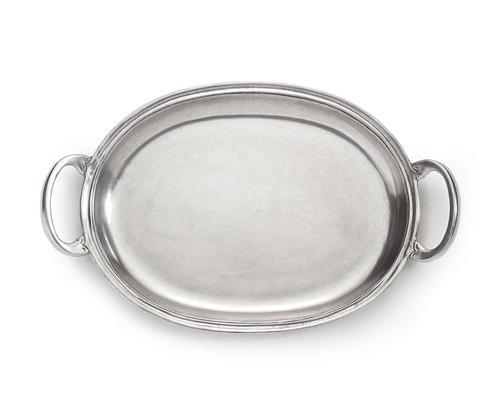 """Arte Italica Peltro Small Tray with Handles PEL6728  Peltro, meaning pewter in Italian, exemplifies the beauty of handcrafted pewter. Each piece is made with extreme care and detail and you will find hallmarks, stamps and 95 proving it is 95% tin, the highest grade pewter made! Whether on the bar, bath, coffee or side table this classic tray is the perfect piece! Italian pewter, Hand made in Italy. Wipe clean with a damp cloth.  9"""" L X 8"""" W"""