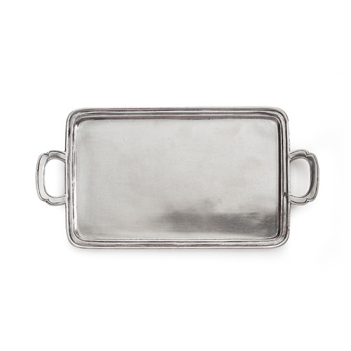 """Arte Italica Peltro Small Rectangular Tray PEL6735  Peltro, meaning pewter in Italian, exemplifies the beauty of handcrafted pewter. Each piece is made with extreme care and detail and you will find hallmarks, stamps and 95 proving it is 95% tin, the highest grade pewter made! Whether on the bar, bath, coffee or side table this classic tray is the perfect piece! Italian pewter, Hand made in Italy. Wipe clean with a damp cloth.  13"""" L x 6.75"""" W"""