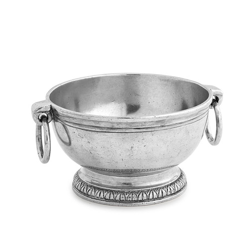 Arte Italica Peltro Small Bowl with Ring Handles PEL6759  Peltro, meaning pewter in Italian, exemplifies the beauty of handcrafted pewter. Each piece is made with extreme care and detail and you will find hallmarks, stamps and 95 proving it is 95% tin, the highest grade pewter made! This sweet round bowl has lovely handles and makes a great serving piece for soups, desserts, and seafood cockails. Italian pewter, Hand made in Italy. Wipe clean with a damp cloth.  5.5'' D