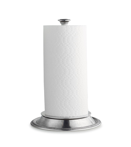 """Arte Italica Peltro Paper Towel Holder PEL0558  Peltro, meaning pewter in Italian, exemplifies the beauty of handcrafted pewter. Each piece is made with extreme care and detail and you will find hallmarks, stamps and 95 proving it is 95% tin, the highest grade pewter made! Your paper towel holder should be as beautiful as functional, our holder has a white center dowel with a pewter top and base. Italian pewter, Hand made in Italy. Wipe clean with a damp cloth.  7.5"""" D x 13"""" H"""