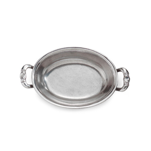"Arte Italica Peltro Oval Bowl with Handles PEL6790  Peltro, meaning pewter in Italian, exemplifies the beauty of handcrafted pewter. Each piece is made with extreme care and detail and you will find hallmarks, stamps and 95 proving it is 95% tin, the highest grade pewter made! This sweet oval bowl has lovely handles and makes a great serving piece for bread, or crackers. Italian pewter, Hand made in Italy. Wipe clean with a damp cloth.  8.25"" L X 5"" W"