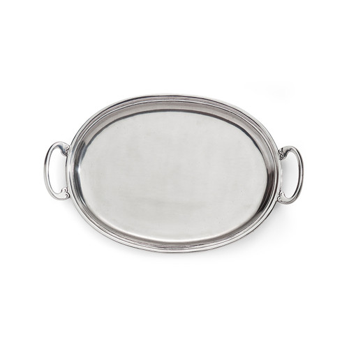 """Arte Italica Peltro Medium Oval Tray with Handles PEL6731  Peltro, meaning pewter in Italian, exemplifies the beauty of handcrafted pewter. Each piece is made with extreme care and detail and you will find hallmarks, stamps and 95 proving it is 95% tin, the highest grade pewter made! Whether on the bar, bath, coffee or side table this classic tray is the perfect piece! Italian pewter, Hand made in Italy. Wipe clean with a damp cloth.  17.25"""" L x 10.25"""" W"""