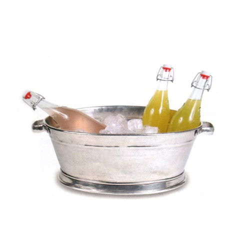"""Arte Italica Peltro Large Oval Bucket PEL3650  Serve in style with this stunning pewter ice bucket. Each is made by a skilled artisan with the finest quality pewter, distressed and hand-finished for a rich patina. Italian pewter, Hand made in Italy.  Hand wash only  19.75"""" L x 13"""" W x 7.75"""" H"""