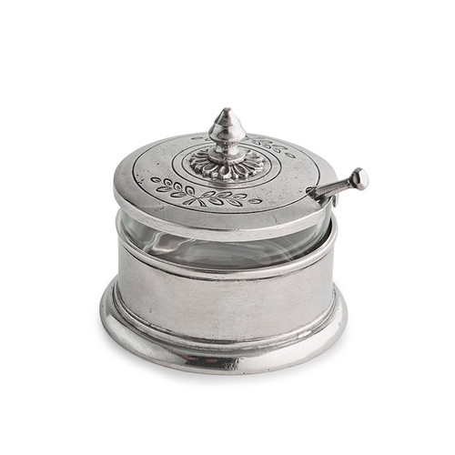 "Arte Italica Peltro Condiment Bowl with Spoon PEL6745  Peltro, meaning pewter in Italian, exemplifies the beauty of handcrafted pewter. Each piece is made with extreme care and detail and you will find hallmarks, stamps and 95 proving it is 95% tin, the highest grade pewter made! Our Condiment Bowl has a lovely detail on the lid and comes with a spoon. The glass insert makes cleaning easy. Italian pewter, Hand made in Italy.Wipe clean with a damp cloth.  4.25"" D x 2.5"" H"