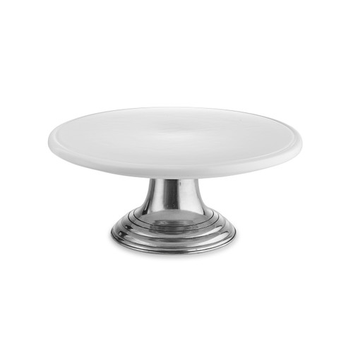 """Arte Italica Tuscan Cake Stand  TUS3628  The original pewter and ceramic dinnerware, combines white ceramic with our signature pewter trim. Handcrafted of the highest quality materials, this classic cake stand translates seamlessly from traditional to contemporary, from casual to formal. Italian ceramic and pewter, Hand made in Italy. Hand wash only.  13"""" D x 5"""" H"""