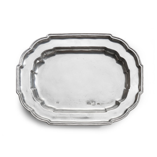 "Arte Italica Vintage Large Oval Scalloped Tray VIN3650  Our Vintage Pewter is a collection of pitchers, trays, bowls any other items that have a vintage quality. They are either caste from old molds, or a replica of an old piece. Each piece will contain a vintage quality like dates, monograms, stamps, or medallions. This large scalloped tray represents the vintage feeling with it's classic design. Italian pewter, Hand made in Italy. Hand wash only.  16"" L x 8.25"" W"