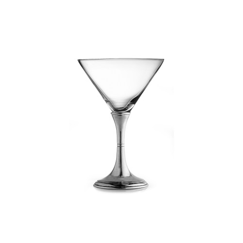 "Arte Italica Verona Martini Glass P4037  Graceful forms of glittering glass are combined with handcrafted pewter stems. This timeless glass adds an elegant feel to any table. Italian pewter and glass, Hand made in Italy. Hand wash only, do not soak, wash with luke warm water, and dry immediately.  4.75"" D x 7"" H, 8 oz"