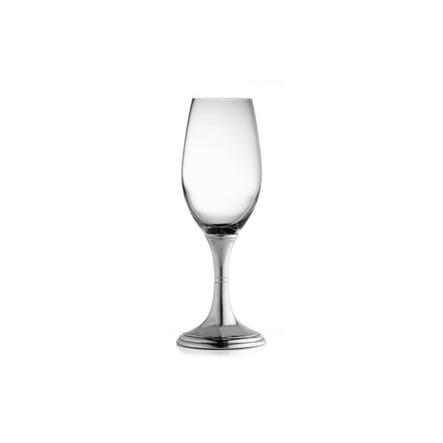 "Arte Italica Verona Flute P2535  Graceful forms of glittering glass are combined with handcrafted pewter stems. This timeless glass adds an elegant feel to any table. Italian pewter and glass, Hand made in Italy. Hand wash only, do not soak, wash with luke warm water, and dry immediately.  2"" D x 8"" H, 8 oz"