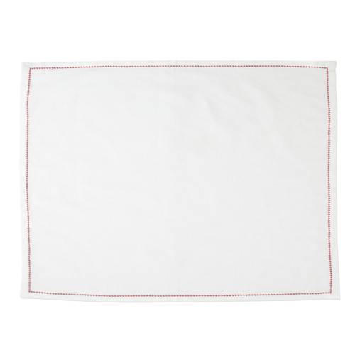 """Vietri Cotone Linens Ivory Placemats with Red Stitching Set/4  COT-R002200R 19""""L, 14""""W  Clean, soft, and made of 100% woven cotton, Vietri's Cotone Linens from plumpuddingkitchen.com are a tabletop essential.  Solid colors easily transition between tablescapes while adding subtle simplicity.  Made in India.  Machine wash up to 100°F. Lay flat to dry, warm iron. Dry clean, if necessary."""