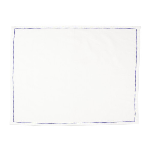 """Vietri Cotone Linens Ivory Placemats with Cobalt Stitching Set/4  COT-C002200 19""""L, 14""""W  Clean, soft, and made of 100% woven cotton, Vietri's Cotone Linens from plumpuddingkitchen.com are a tabletop essential.  Solid colors easily transition between tablescapes while adding subtle simplicity.  Made in India.  Machine wash up to 100°F. Lay flat to dry, warm iron. Dry clean, if necessary."""