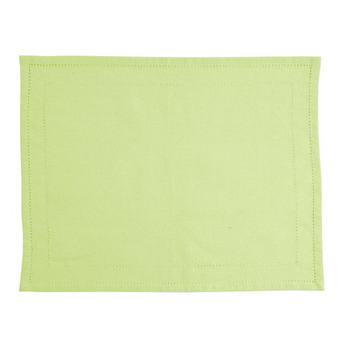 """Vietri Cotone Linens Pistachio Placemats with Double Stitching Set/4  COT-P007002 19""""L, 14""""W  Clean, soft, and made of 100% woven cotton, Vietri's Cotone Linens from plumpuddingkitchen.com are a tabletop essential.  Solid colors easily transition between tablescapes while adding subtle simplicity.  Made in India.  Machine wash up to 100°F. Lay flat to dry, warm iron. Dry clean, if necessary."""