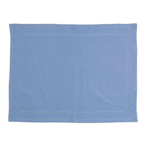 "Vietri Cotone Linens Cornflower Blue Placemats with Double Stitching Set/4  COT-CB007002 19""L, 14""W  Clean, soft, and made of 100% woven cotton, Vietri's Cotone Linens from plumpuddingkitchen.com are a tabletop essential.  Solid colors easily transition between tablescapes while adding subtle simplicity.  Made in India.  Machine wash up to 100°F. Lay flat to dry, warm iron. Dry clean, if necessary."