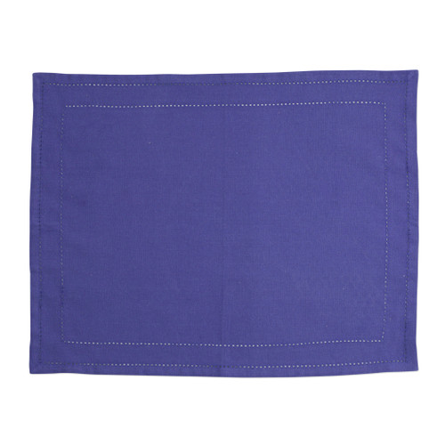 """Vietri Cotone Linens Cobalt Placemats with Double Stitching Set/4  COT-C007002 19""""L, 14""""W  Clean, soft, and made of 100% woven cotton, Vietri's Cotone Linens from plumpuddingkitchen.com are a tabletop essential.  Solid colors easily transition between tablescapes while adding subtle simplicity.  Made in India.  Machine wash up to 100°F. Lay flat to dry, warm iron. Dry clean, if necessary."""