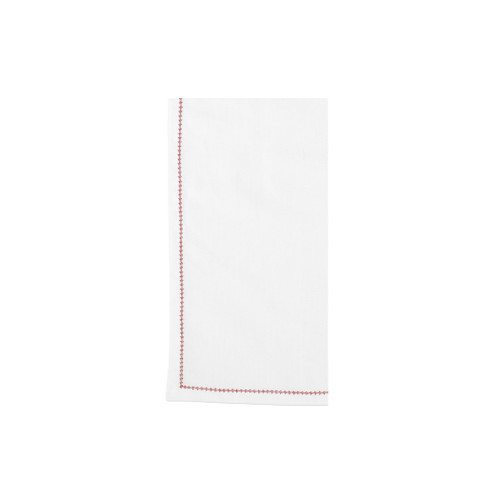 "Vietri Cotone Linens Ivory Napkins with Red Stitching Set/4  COT-R007003 21"" Sq  Clean, soft, and made of 100% woven cotton, Vietri's Cotone Linens from plumpuddingkitchen.com are a tabletop essential.  Solid colors easily transition between tablescapes while adding subtle simplicity.  Made in India.  Machine wash up to 100°F. Lay flat to dry, warm iron. Dry clean, if necessary."