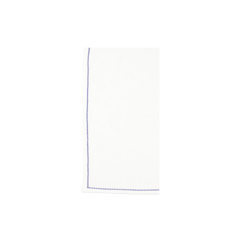 "Vietri Cotone Linens Ivory Napkins with Cobalt Stitching Set/4 COT-C007003 21"" Sq  Clean, soft, and made of 100% woven cotton, Vietri's Cotone Linens from plumpuddingkitchen.com are a tabletop essential.  Solid colors easily transition between tablescapes while adding subtle simplicity.  Made in India.  Machine wash up to 100°F. Lay flat to dry, warm iron. Dry clean, if necessary."