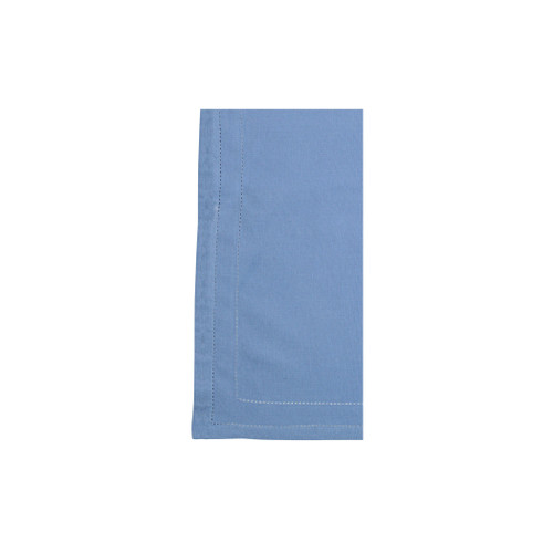 """Vietri Cotone Linens Cornflower Blue Napkins with Double Stitching Set/4  COT-CB007001 21"""" Sq  Clean, soft, and made of 100% woven cotton, Vietri's Cotone Linens from plumpuddingkitchen.com are a tabletop essential.  Solid colors easily transition between tablescapes while adding subtle simplicity.  Made in India.  Machine wash up to 100°F. Lay flat to dry, warm iron. Dry clean, if necessary."""