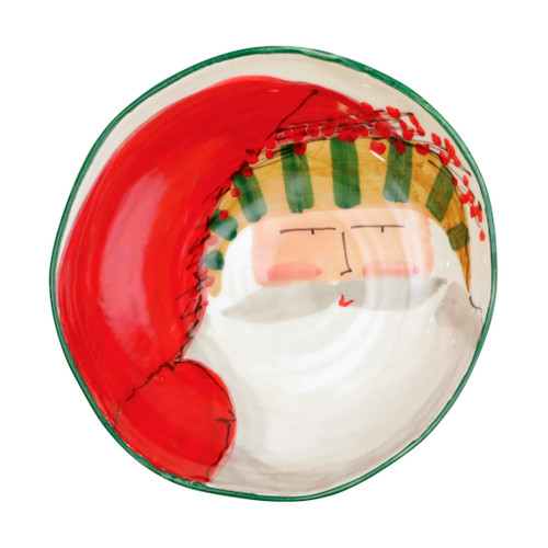 """Vietri Old St Nick Stripe Hat Pasta Bowl  OSN-78004D 8.25""""D, 2.25""""H  The Old St. Nick Pasta bowls are handpainted by maestro artisan Alessandro Taddei."""