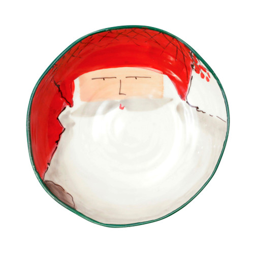 """Vietri Old St Nick red Hat Pasta Bowl  OSN-78004A 8.25""""D, 2.25""""H  The Old St. Nick Pasta bowls are handpainted by maestro artisan Alessandro Taddei."""
