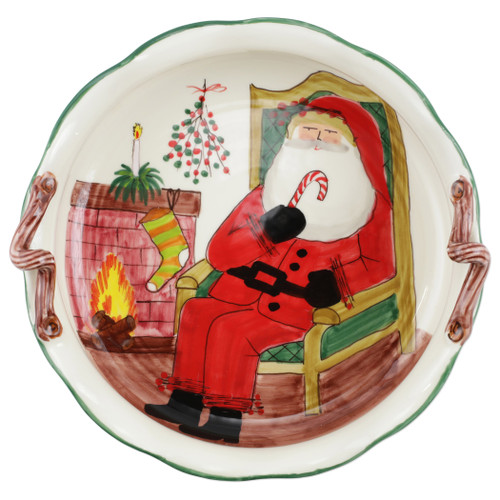"""Vietri Old St Nick Handled Scallop Large Bowl with Fireplace  OSN-78099  15.5""""D, 5""""H  The Old St. Nick Large  Bowl features the handpainted designs of maestro artisan Alessandro Taddei."""