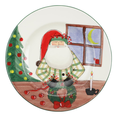 "Vietri Old St Nick Rimmed Round Platter w/ Wreath  OSN-78100  15.75""D  The Old St. Nick Platter features the handpainted designs of maestro artisan Alessandro Taddei."