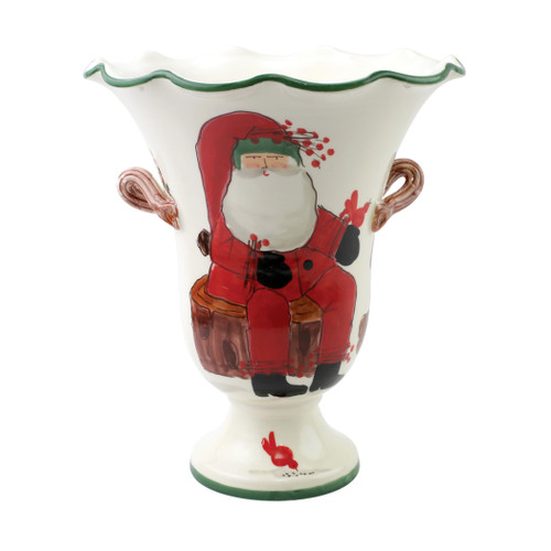 "Vietri Old St Nick Large Footed Cachepot w/ Campfire  OSN-78101  12""D, 13.5""H     What could be more whimsical than the individual portraits of Vietri's Old St. Nick, beloved by all Italians!     Each Santa is created for Vietri from maestro Alessandro Taddei's childhood memories of stories his mother read to him. Made of terra bianca, each portrait is painted directly on the fired surface in Tuscany so that each stroke is seen in detail."