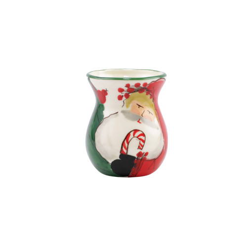 """Vietri Old St Nick Bud Vase Gift Boxed  OSN-78107  4.55""""H, 3.75""""D    What could be more whimsical than the individual portraits of Vietri's Old St. Nick, beloved by all Italians!     Each Santa is created for Vietri from maestro Alessandro Taddei's childhood memories of stories his mother read to him. Made of terra bianca, each portrait is painted directly on the fired surface in Tuscany so that each stroke is seen in detail."""