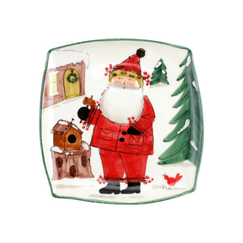 """Vietri Old St Nick Limited Edition 2020 Square Platter Gift Boxed  OSN-78098-LE  12"""" Sq     What could be more whimsical than the individual portraits of Vietri's Old St. Nick, beloved by all Italians!     Each Santa is created for Vietri from maestro Alessandro Taddei's childhood memories of stories his mother read to him. Made of terra bianca, each portrait is painted directly on the fired surface in Tuscany so that each stroke is seen in detail."""