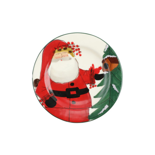 "Vietri Old St Nick Limited Edition 2020 Salad Plate Gift Boxed  OSN-78095-LE  8.5"" D     What could be more whimsical than the individual portraits of Vietri's Old St. Nick, beloved by all Italians!     Each Santa is created for Vietri from maestro Alessandro Taddei's childhood memories of stories his mother read to him. Made of terra bianca, each portrait is painted directly on the fired surface in Tuscany so that each stroke is seen in detail."