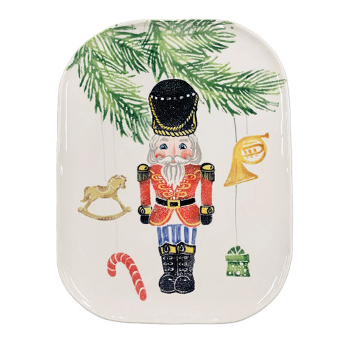 "Vietri Nutcrackers Medium Rectangular Platter  NTC-9727 15.75""L, 11.75""W  Maestro artisan, Gianluca Fabbro, recreates a Christmas classic with bright colors and a cheerful holiday design inspiring new family traditions with handpainted collectibles. Handpainted on terra bianca in Veneto. Dishwasher and microwave safe."