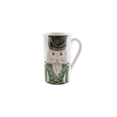 """Vietri Nutcrackers Latte Mug with Soldier Gift Boxed  NTC-97010-GB 5.5""""H, 16oz  Maestro artisan, Gianluca Fabbro, recreates a Christmas classic with bright colors and a cheerful holiday design inspiring new family traditions with handpainted collectibles. Handpainted on terra bianca in Veneto. Dishwasher and microwave safe."""