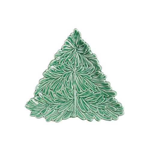 """Vietri Lastra Holiday Figural Tree Small Plate Gift Boxed  LAH-2601T-GB 8.5""""L, 9""""W   Make time for your loved ones this season when you gather around the cheerful design of Vietri's Lastra Holiday from plumpuddingkitchen.com.  Handcrafted of Italian stoneware in Tuscany.    Dishwasher, microwave, freezer and oven safe."""