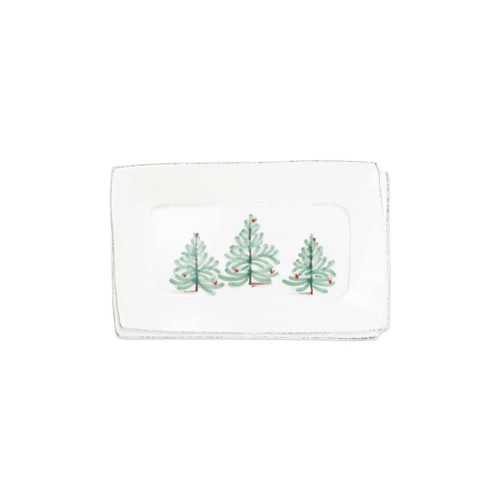 """Vietri Lastra Holiday Small Rectangular Tray  LAH-26029 10.5""""L, 6.75""""W     Make time for your loved ones this season when you gather around the cheerful design of Vietri's Lastra Holiday from plumpuddingkitchen.com.  Handcrafted of Italian stoneware in Tuscany.    Dishwasher, microwave, freezer and oven safe."""