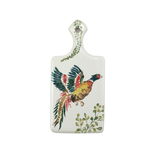 "Vietri Fauna Pheasants Cheese Board  FAU-9769 17""L, 8""W  The work of maestro artisan, Gianluca Fabbro, is often recognized by a bold array of colors coupled with an innate attention to detail through his handpainted sponging technique. Fauna combines the outline of the classic hunting bird paired with nature's greenery to depict what is commonly found during the hunt (la caccia) in Umbria, the Italian land known for capturing wild pheasants. Dishwasher and microwave safe."
