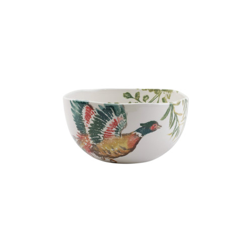 """Vietri Fauna Pheasants Deep Serving Bowl  FAU-9733 9.5""""D, 5""""H  The work of maestro artisan, Gianluca Fabbro, is often recognized by a bold array of colors coupled with an innate attention to detail through his handpainted sponging technique. Fauna combines the outline of the classic hunting bird paired with nature's greenery to depict what is commonly found during the hunt (la caccia) in Umbria, the Italian land known for capturing wild pheasants. Dishwasher and microwave safe."""