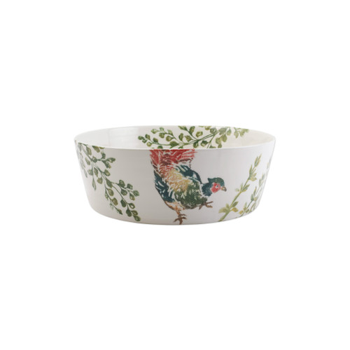 """Vietri Fauna Pheasants Large Serving Bowl  FAU-9729 14""""D, 5""""H  The work of maestro artisan, Gianluca Fabbro, is often recognized by a bold array of colors coupled with an innate attention to detail through his handpainted sponging technique. Fauna combines the outline of the classic hunting bird paired with nature's greenery to depict what is commonly found during the hunt (la caccia) in Umbria, the Italian land known for capturing wild pheasants. Dishwasher and microwave safe."""