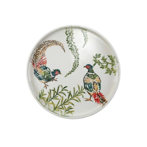 "Vietri Fauna Pheasants Small Handled Round Tray  FAU-9722 15.25""D, 1.5""H  The work of maestro artisan, Gianluca Fabbro, is often recognized by a bold array of colors coupled with an innate attention to detail through his handpainted sponging technique. Fauna combines the outline of the classic hunting bird paired with nature's greenery to depict what is commonly found during the hunt (la caccia) in Umbria, the Italian land known for capturing wild pheasants. Dishwasher and microwave safe."