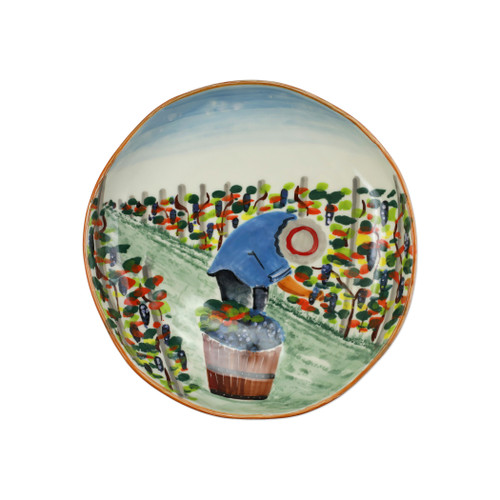 "Vietri Cantina Shallow Bowl  CNT-7831 13.5""D, 3""H The harvesting of grapes to make wine, a long sought after tradition in Italy, is beautifully reflected in the handpainted scenes of Cantina. Handpainted on terra bianca in Tuscany. Dishwasher safe."
