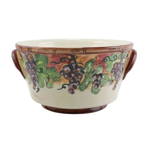 "Vietri Cantina Celebration Bucket  CNT-7829 16""L, 14.5W, 8""H  The harvesting of grapes to make wine, a long sought after tradition in Italy, is beautifully reflected in the handpainted scenes of Cantina. Handpainted on terra bianca in Tuscany. Dishwasher safe."