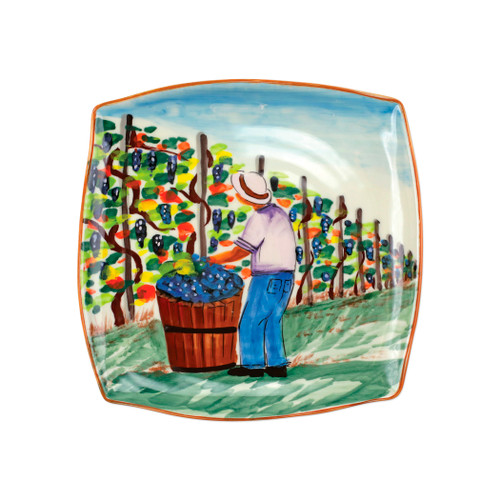 "Vietri Cantina Square Platter  CNT-7828 12"" Sq  The harvesting of grapes to make wine, a long sought after tradition in Italy, is beautifully reflected in the handpainted scenes of Cantina. Handpainted on terra bianca in Tuscany. Dishwasher safe."