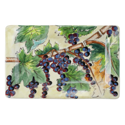 "Vietri Cantina Rectangular Platter  CNT-7827 18.75""L, 11.75""  The harvesting of grapes to make wine, a long sought after tradition in Italy, is beautifully reflected in the handpainted scenes of Cantina. Handpainted on terra bianca in Tuscany. Dishwasher safe."