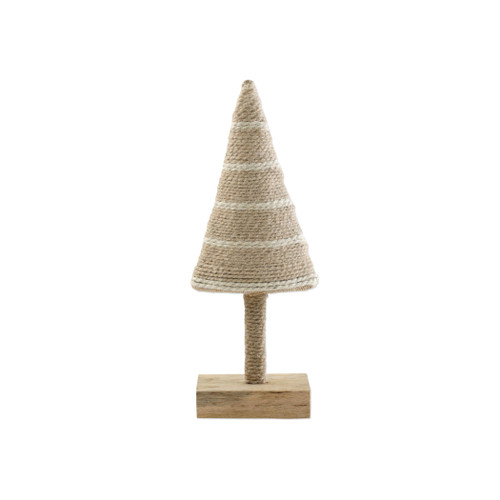 """Vietri Alberini Natural with Stripe Small Tree  ABE-N009003 4.5""""W, 12""""H  (al behr ee nee): little trees  Alberini from plumpuddingkitchen.com, meaning little trees in Italian, captures the simplicity of the forest with mix and match designs in both green and natural color schemes. Handcrafted of 100% biodegradable jute in India. For decorative use only."""