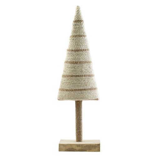 """Vietri Alberini Natural Stripe Large Tree  ABE-N009001 5.25""""W, 18""""H  (al behr ee nee): little trees  Alberini from plumpuddingkitchen.com, meaning little trees in Italian, captures the simplicity of the forest with mix and match designs in both green and natural color schemes. Handcrafted of 100% biodegradable jute in India. For decorative use only."""