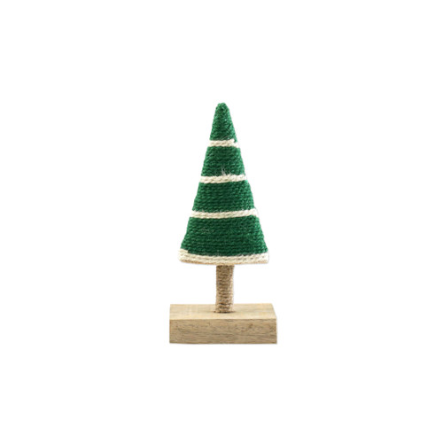 """Vietri Alberini Dark Green with Stripe Extra-Small Tree  ABE-G009004 4""""W, 9""""H  (al behr ee nee): little trees  Alberini from plumpuddingkitchen.com, meaning little trees in Italian, captures the simplicity of the forest with mix and match designs in both green and natural color schemes. Handcrafted of 100% biodegradable jute in India. For decorative use only."""