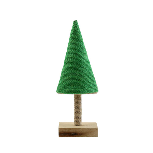 """Vietri Alberini Lime Green with Stripe Medium Tree  ABE-G009002 5""""W, 15""""H  (al behr ee nee): little trees  Alberini from plumpuddingkitchen.com, meaning little trees in Italian, captures the simplicity of the forest with mix and match designs in both green and natural color schemes. Handcrafted of 100% biodegradable jute in India. For decorative use only."""